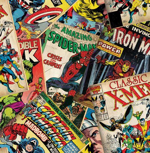 """Färgstarka serietidningsomslag m Spindelmannen, Hulken, Ironman m fl""""Marvel cover story"""""""
