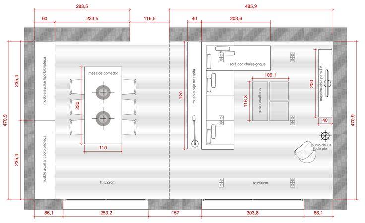 Plano de planta de distribución acotado del proyecto de un salón-comedor #planos