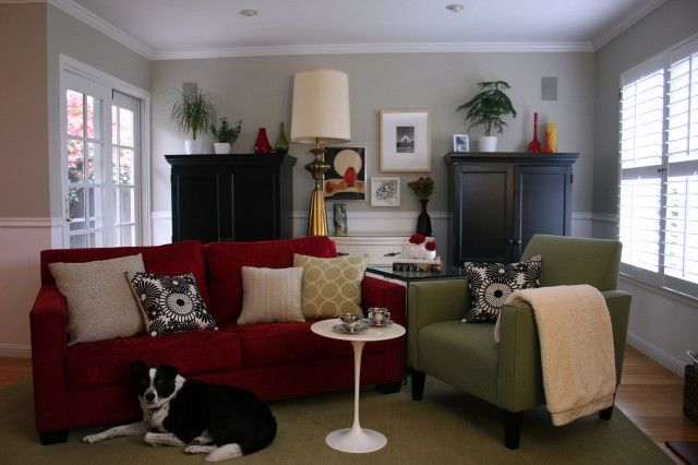 Benjamin moore revere pewter walls love the red sofa - Living room color schemes red couch ...