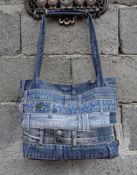 Denim handbag tote shoulder bag recycled distressed door BukiBuki