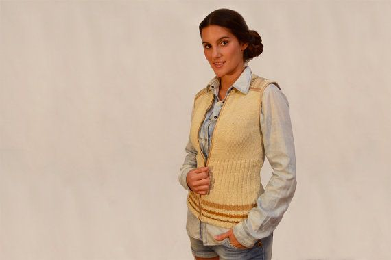 Knit vest Knitted natural vest cotton cream by quirogaquiroga