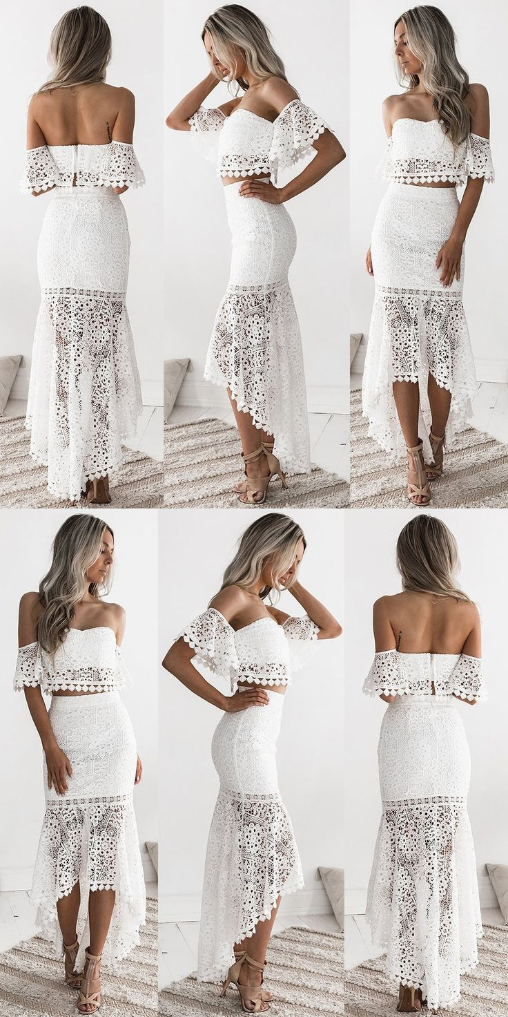 Two Piece Off-the-Shoulder Short Sleeves High Low White Lace Prom Dress