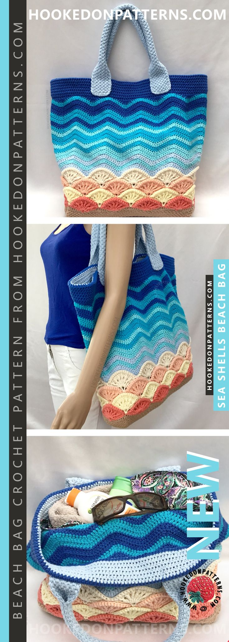 This beach bag crochet pattern is for a large tote bag with a beach themed desig…