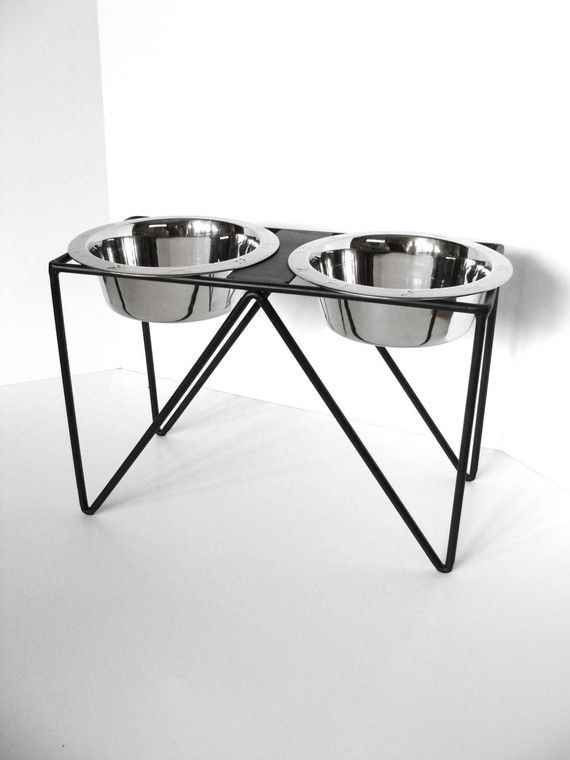 Dog Bowl Holder Chic Modern Meets Country by baconsquarefarm