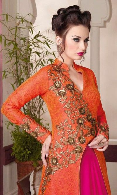 Designer Orange & Magneta Floor Length Anarkali Suit-