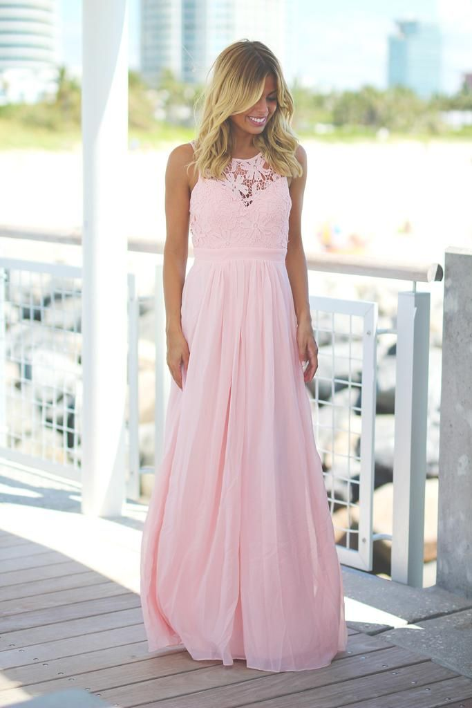 Bridesmaids Alert!!! Super elegant and cute Pink Lace Maxi Dress! Perfect for any special occasion! We love its beautiful flowy skirt and open back! Check out other maxi dresses at our online dress bo