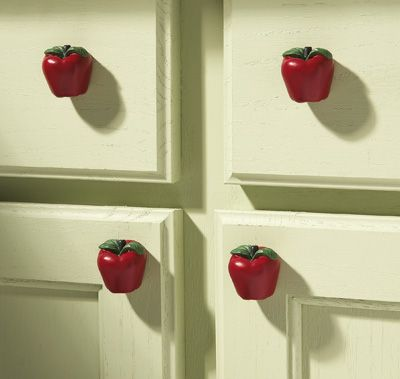 6 pc decorative apple kitchen drawer pulls for Apples decoration for kitchen
