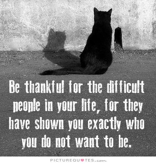 Be thankful for all the difficult people in your life, for they have shown you exactly who you do not want to be. Negative people quotes on PictureQuotes.com.