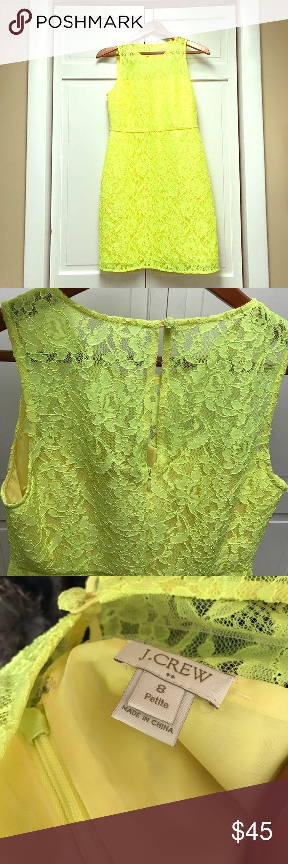 NWOT J.Crew Neon Yellow Lace Dress Sz 8 Never been worn / j.crew / Neon Yellow / lace dress / lined / sheer lace chest / back zip closure with button top closure J. Crew Dresses