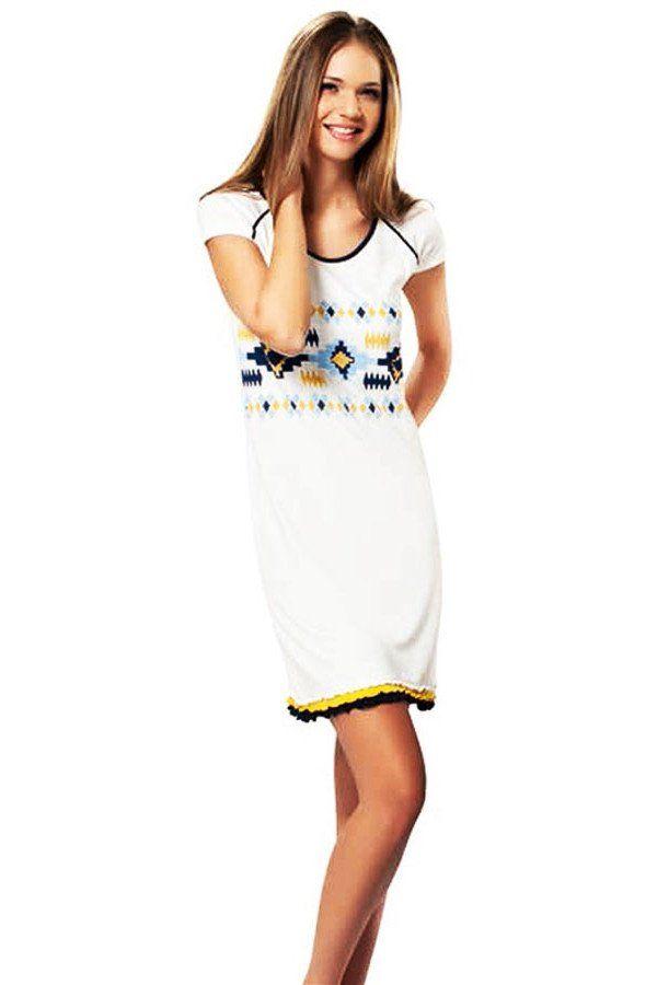 Nachthemd «Melissa», weiß mit Norwegermuster in blau und gelb