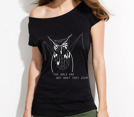 Twin Peaks Owl t-shirt, loose boyfriend fit tee, off shoulder top, girlfriend gift, owls are not what they seem