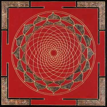 Red Magic Mandala 2  Considered an ancient Tibetan tradition, red and gold has for centuries exemplified  the sacred art of Buddhism. After painting several using the colors red and gold,  it creates some form of magic that the soul sees as Beauty.