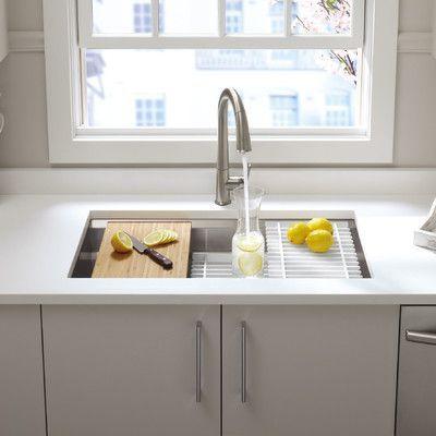 """Kohler Prolific 33"""" x 17-3/4"""" x 11"""" Undermount Single Bowl Kitchen Sink with Accessories"""