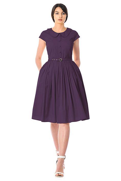 69a5f0f1c99 Peter Pan collar poplin belted dress-CL0056841