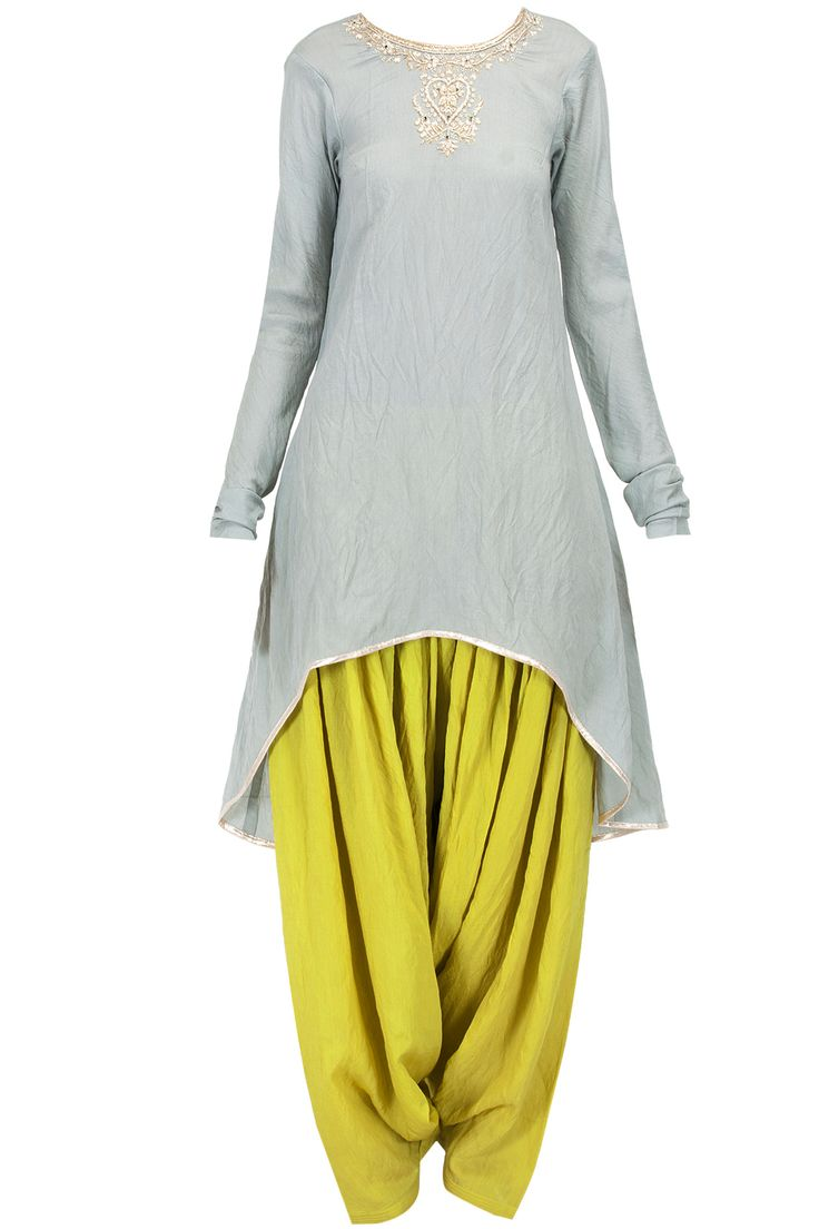 Grey and lime chaand embroidered kurta set available only at Pernia's Pop-Up Shop.