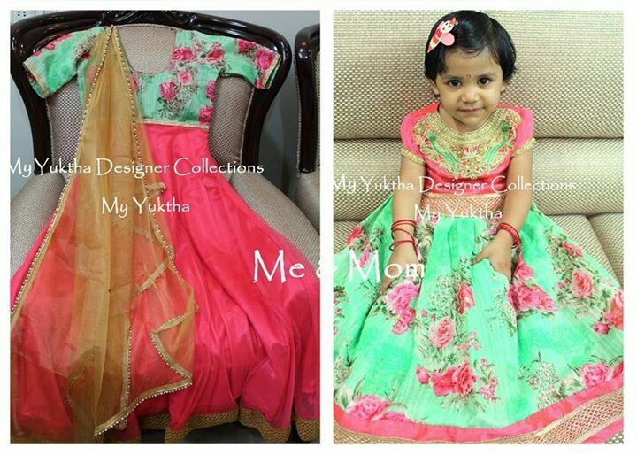 Long frock for mother and lehanga for kid