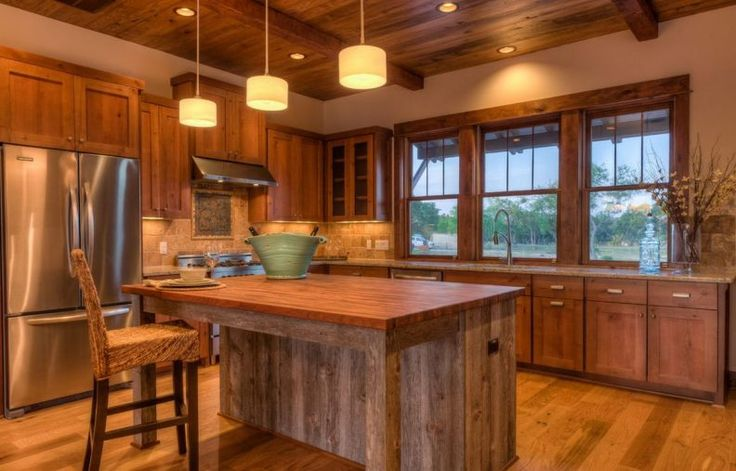 Kitchen, Small Rustic Kitchen Designs White Painted Wooden Island Ceiling Lights Wall Stainless Oven L Shaped Brown Finish Solid Oak Wood Cabinet Beautiful Floor Tiles: Amazing Country Design