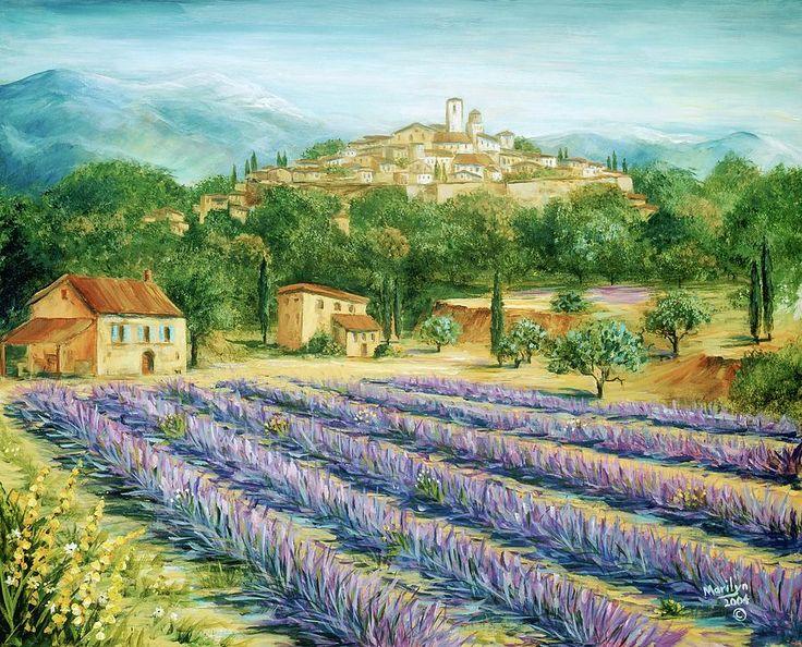 Europe Painting - Saint Paul De Vence And Lavender by Marilyn Dunlap