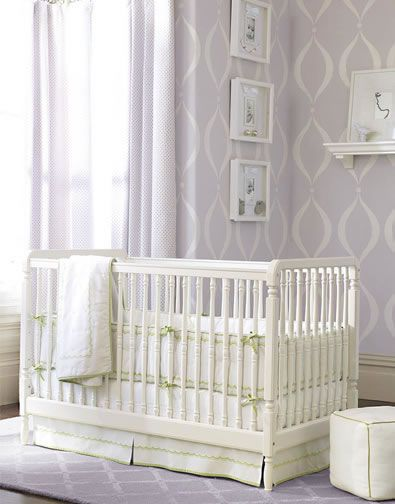 "For nursery  Paint Color - Benjamin Moore 1408 ""White Violet"" and 1410 ""Iced Lavender"":  Cots, Wall Colors, Nurseries Beds, Pottery Barn Kids, Baby Girls, Baby Rooms, Pottery Barns Kids, Stencil, Girls Nurseries"