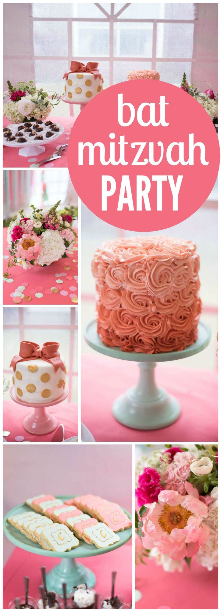 What a pretty coral, mint, and gold Bat Mitzvah! See more party ideas at CatchMyParty.com!