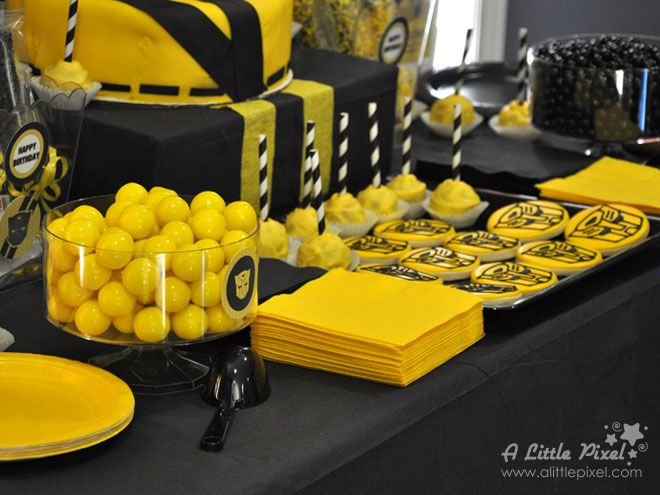 Transformers Bumble Bee Themed Party via www.alittlepixel.com