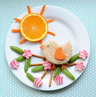 Whoever said you can't play with your food? So cute...swap out bread with a piece of cheese or slice of chicken?