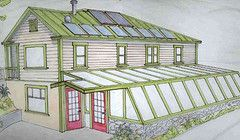 Attached greenhouse to my tiny house, I absolutely love this idea including the solar panels on the house, toss in some rain barrels and we are in biz!