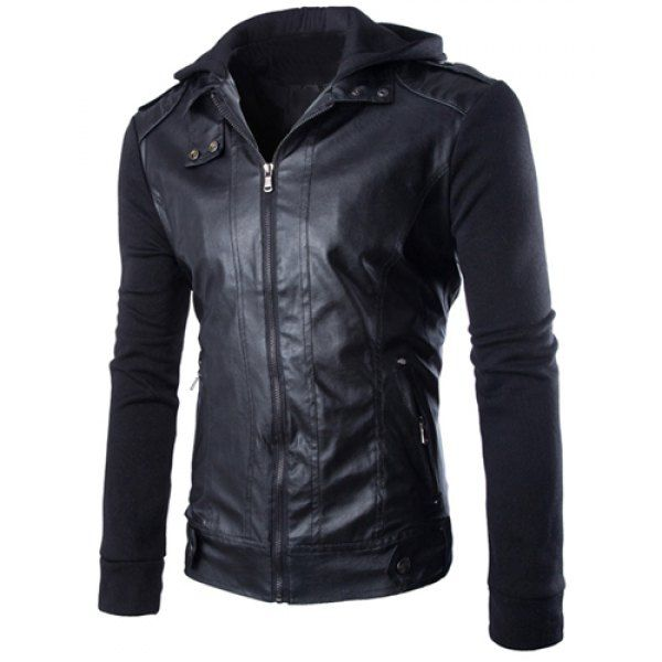 Hit Color Zipper Pocket Epaulet Design Hooded Knitted Long Sleeves Men's Slim Fit PU Leather Coat #women, #men, #hats, #watches, #belts, #fashion, #style