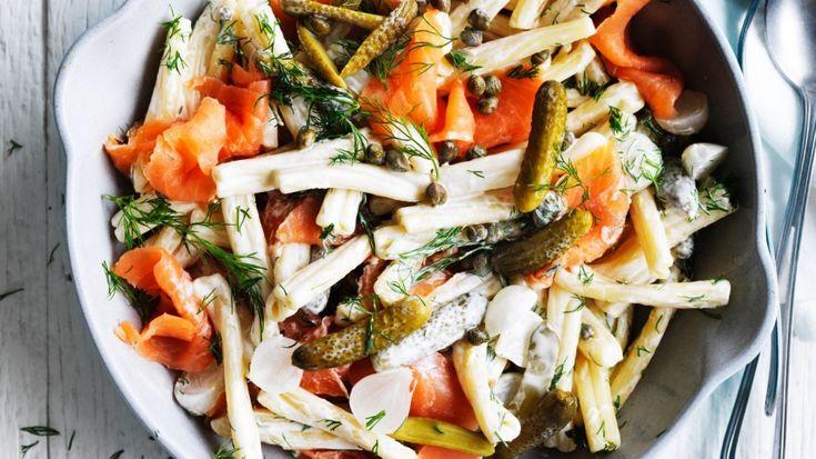 Smoked salmon and cornichon pasta salad recipe
