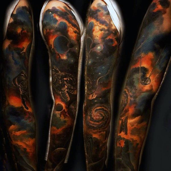 Male Outer Space Sleeves For Tattoo