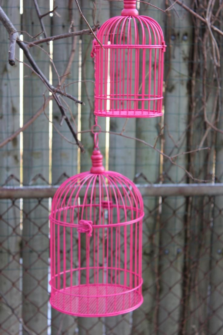 "Hot Pink Bird Cage Birdcage Metal Candleholder Magenta Fuchsia Vintage Look Rustic Wedding Centerpiece Pedestal Shabby Chic Hanging 10"". $11.00, via Etsy."