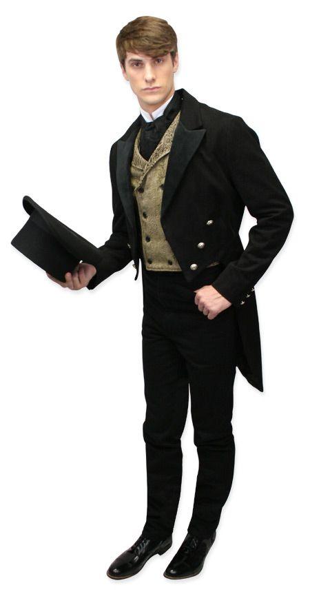 Regency Tailcoat - Black with Velvet Trim make spats and put pants inside.