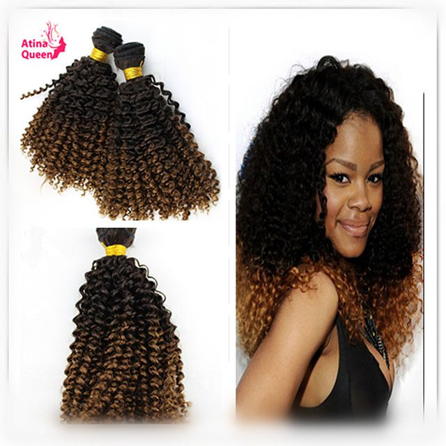 Mongolian Kinky Curly Virgin Hair 1b 30 Ombre Human Hair Extensions 3pcs/lot Mongolian Weave Bundles Two Tone Ombre Hair