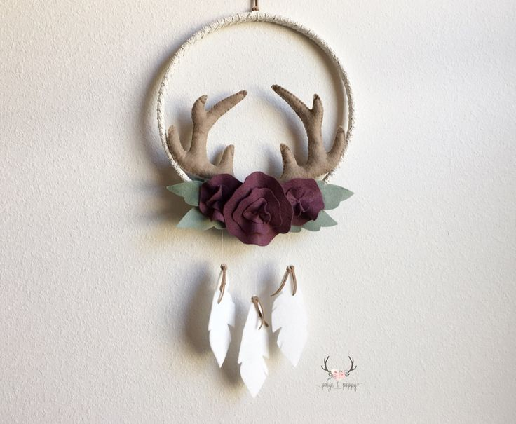 Baby Mobile - Rustic Nursery Decor - Flower Baby Mobile - Baby Girl Mobile - Boho Floral Antlers - Farmhouse Nursery - by PaigeAndPoppy on Etsy https://www.etsy.com/listing/494846193/baby-mobile-rustic-nursery-decor-flower