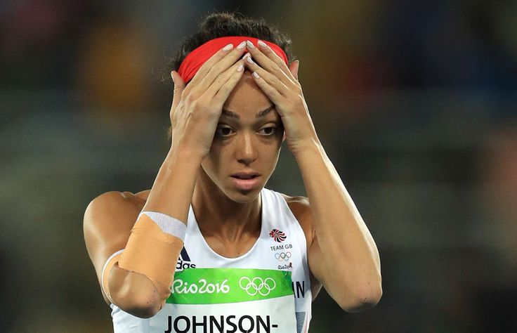 Trying to avoid foul throws:      Great Britain's Katarina Johnson-Thompson reacts after fouling her second throw during the women's heptathlon javelin throw - Group A.