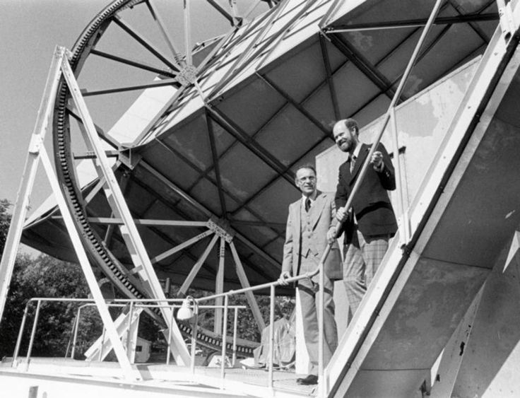 Arno Penzias and Bob Wilson at the location of the antenna in Holmdel, New Jersey, where the cosmic microwave background was first identified.