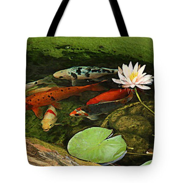 All Tote Bags - Summer Koi and Lilly Tote Bag by Amanda Smith