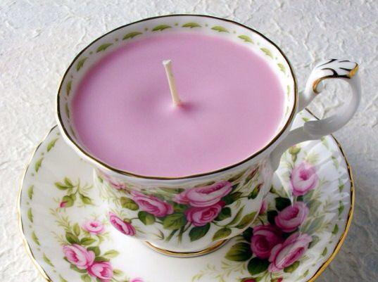 diy candel in a tea cup