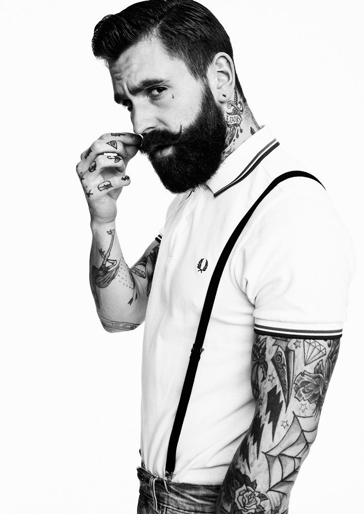 Ricki Hall rickhall tattooed tattoo sleeves moustache beard ink inked tattooedman sexy