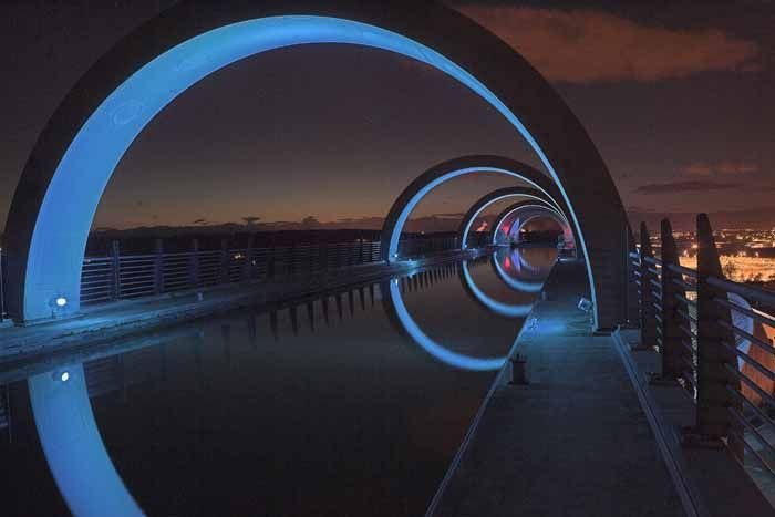 The view down the aqueduct at the Falkirk Wheel, a rotating boat lift in Scotland that connects the Forth and Clyde Canal with the Union Canal. Designed by Tony Kettle of RMJM.