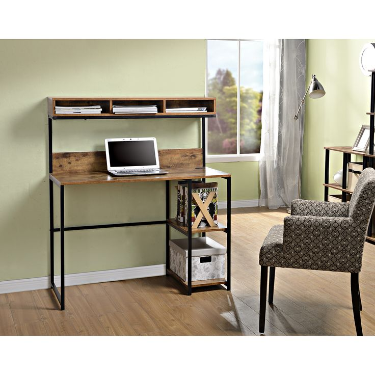 features 2 fixed side shelves for additional storage durable metal steel frame writing deskoffice
