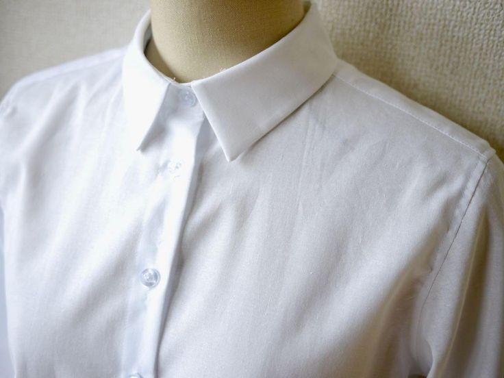 「レディースシャツ・ブラウス」の無料型紙と作り方です。 ベーシック・シンプルなデザインです。 胸のダーツはない…