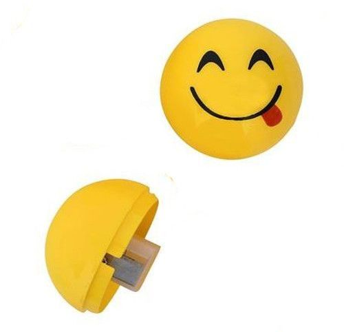 Tongue out smiley face pencil sharpener. A fun and safe novelty stationery gift for kids that depicts the sticking out tongue emoji face.