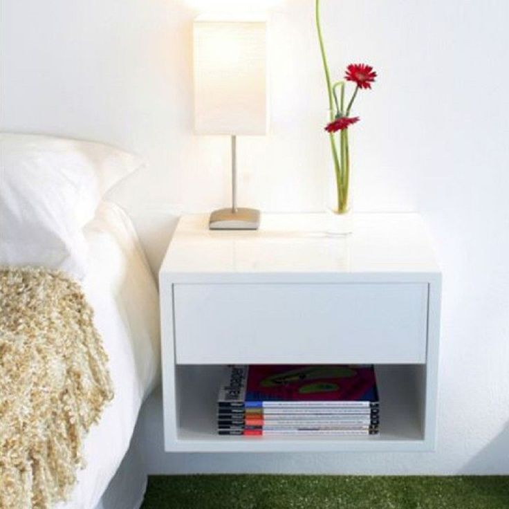Bedroom, Modern Wooden White Floating Small Nightstand With Drawer And Storage Books Base And Small