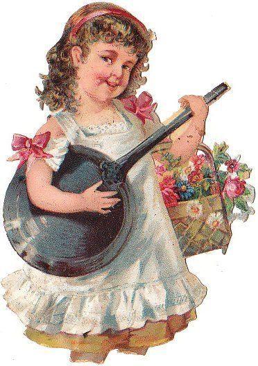 Oblate um 1880 Blumen Mädchen macht Musik (26)