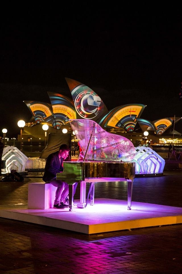 Piano with opera house in background. Vivid. June 2013