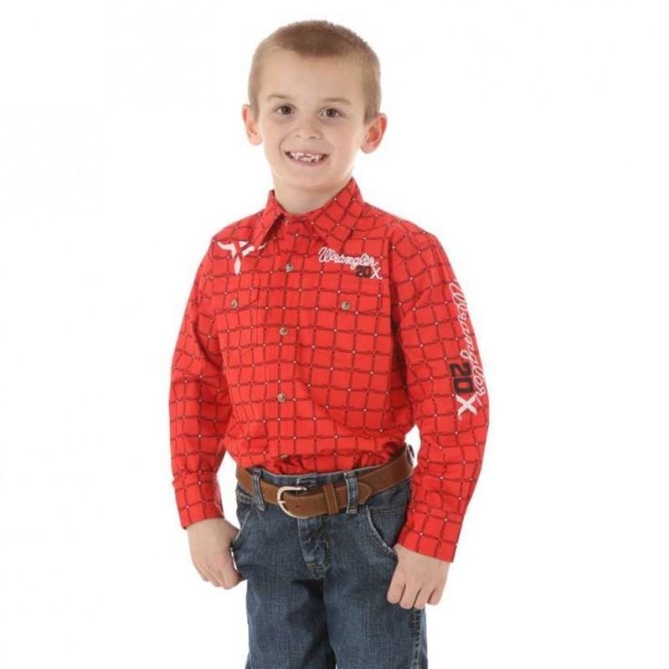 WRANGLER 20X BOYS WESTERN CHECK SHIRT  For the bold young cowboy!  $69.95