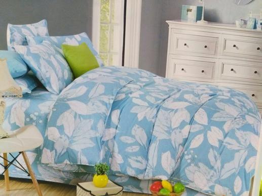 Ткань для постельного белья, листья на голубом
