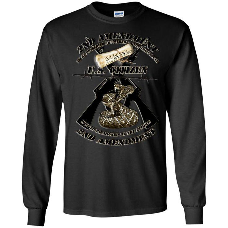 2ND AMENDMENT BLACK CROSSED M16S AND RATTLESNAKE1A G240 Gildan LS Ultra Cotton T-Shirt