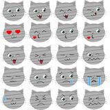 Cute cat emoticons vector Stock Image